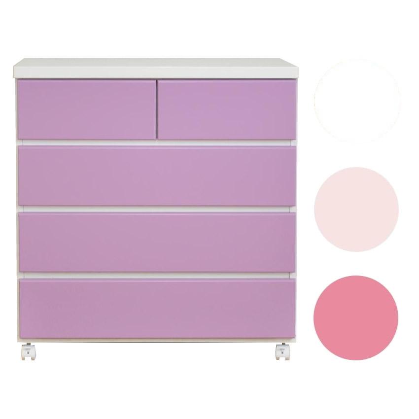 家具/収納 エナメル キャスター付きチェスト 幅75cm×4段 ピンク