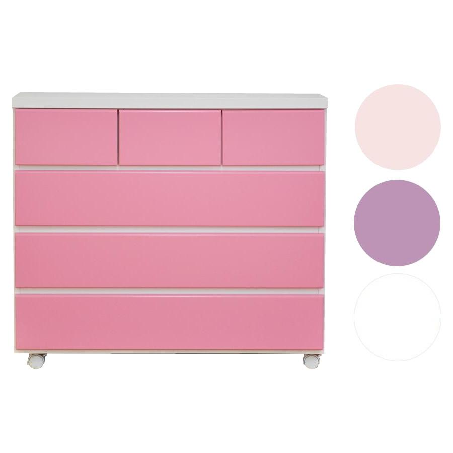 便利雑貨 エナメル キャスター付きチェスト 幅90cm×4段 ピンク