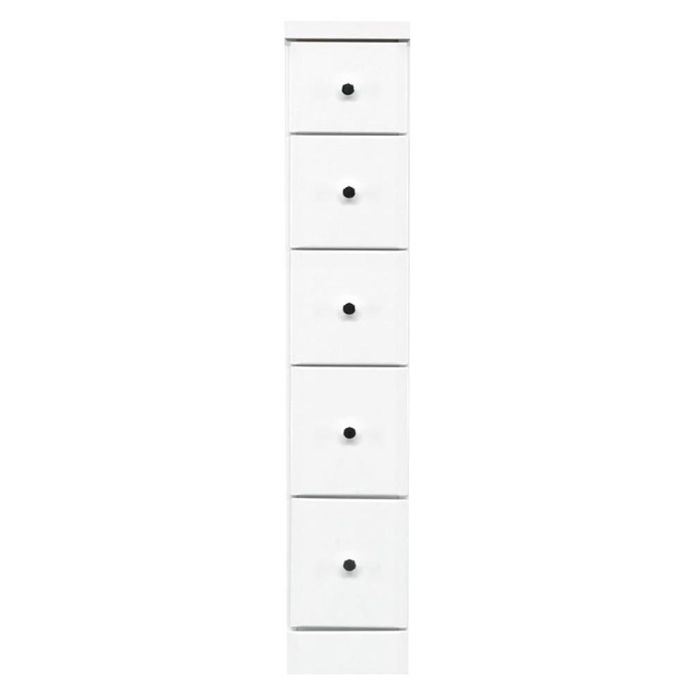 家具/収納 すきま収納チェスト ホワイト色 5段 幅20cm