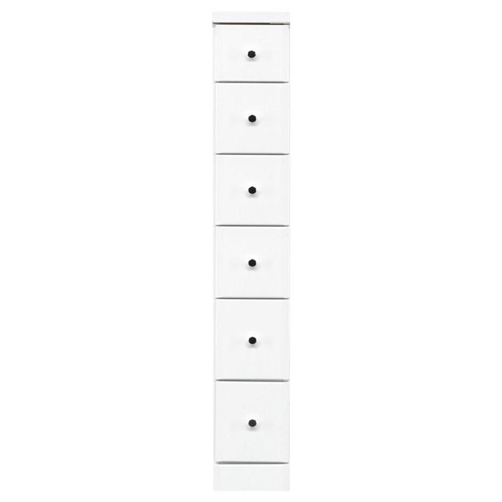 日用品 便利 ユニーク すきま収納チェスト ホワイト色 6段 幅20cm
