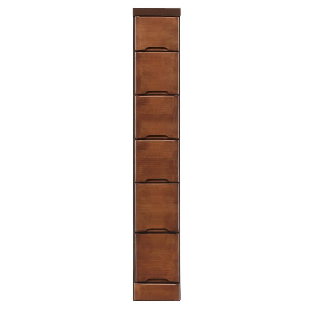 便利雑貨 すきま収納チェスト ブラウン色 6段 幅20cm