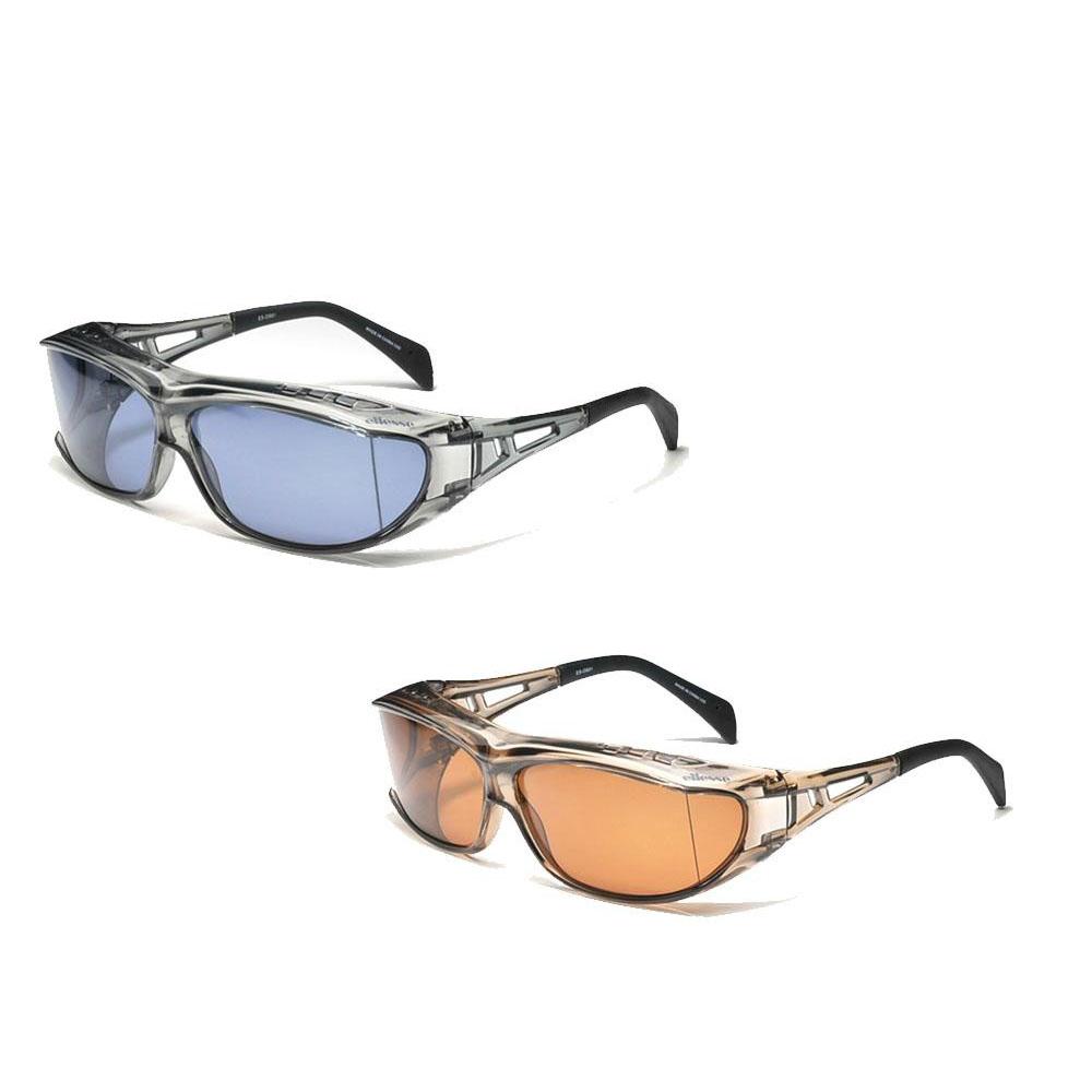 スポーツ・アウトドア メガネの上からかけられるオーバーサングラスLサイズ ES-OS01 F・ブラウン×L・偏光ブラウン