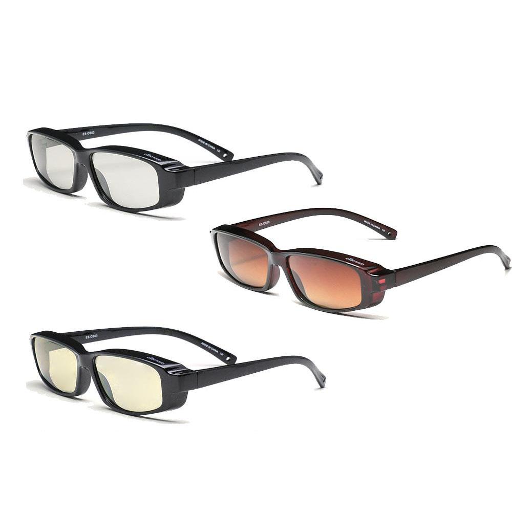 □生活関連グッズ □ellesse エレッセ メガネの上からかけられるオーバーサングラスSサイズ ES-OS03 ダークワイン偏光ブラウンハーフ