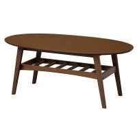 リビングテーブル ウォールナット材を使用 オーバル型の天板と、抜け感のある収納棚が魅力的 BR