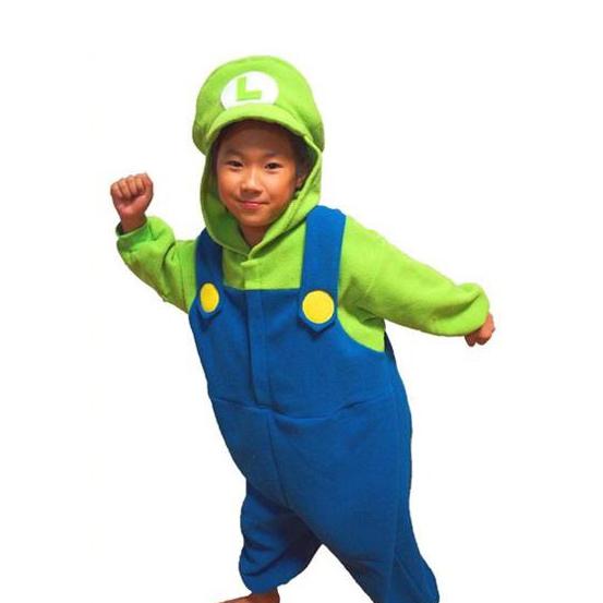 流行 生活 雑貨 サザック フリース着ぐるみ スーパーマリオ ルイージ 子供用