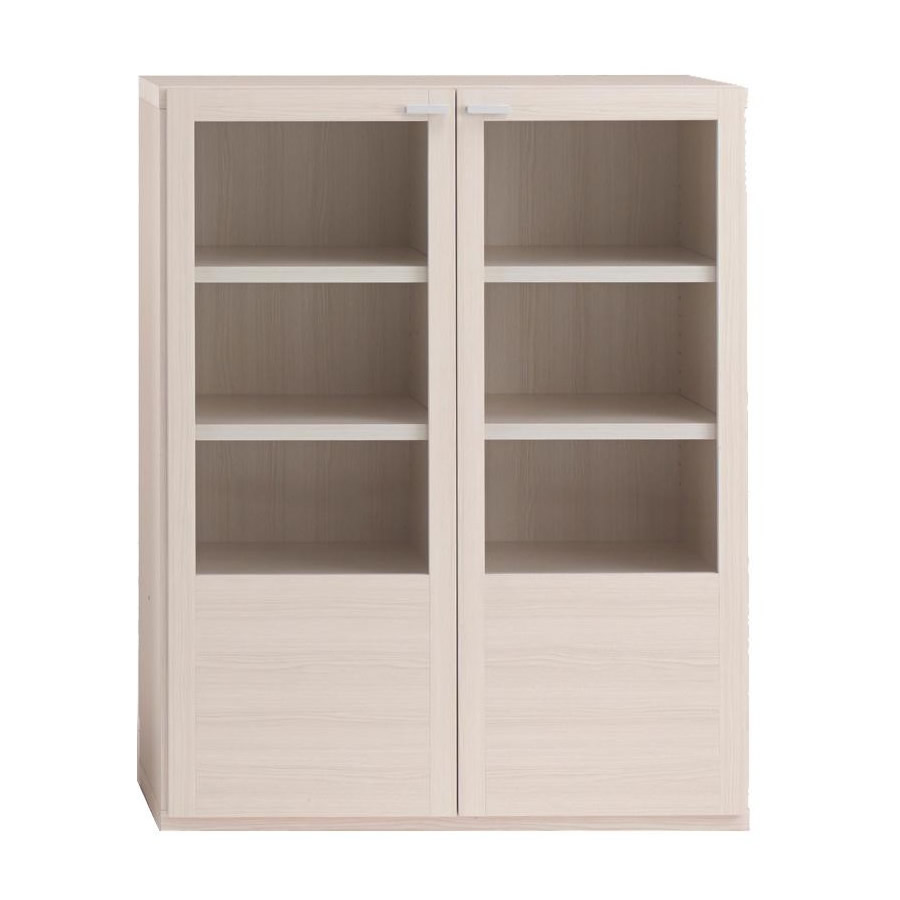 便利雑貨 収納家具 棚 ガラス戸 ホワイトウッド柄 GFS-90