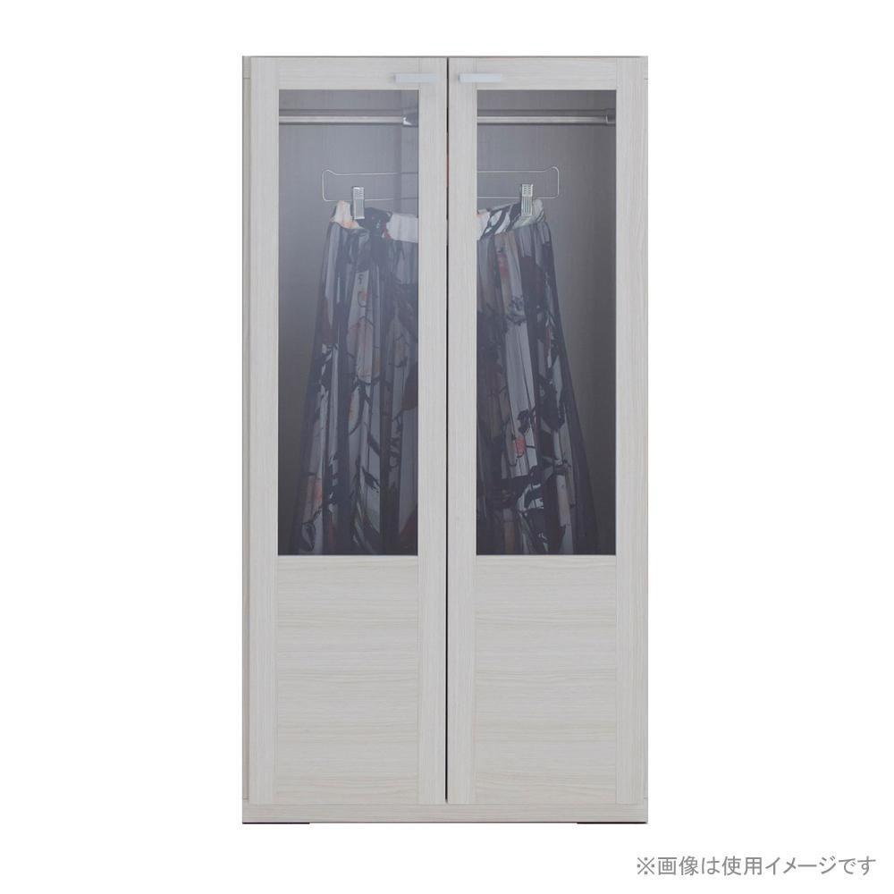 家具/収納関連商品 フナモコ 洋服ガラス戸 ホワイトウッド柄 GCS-60