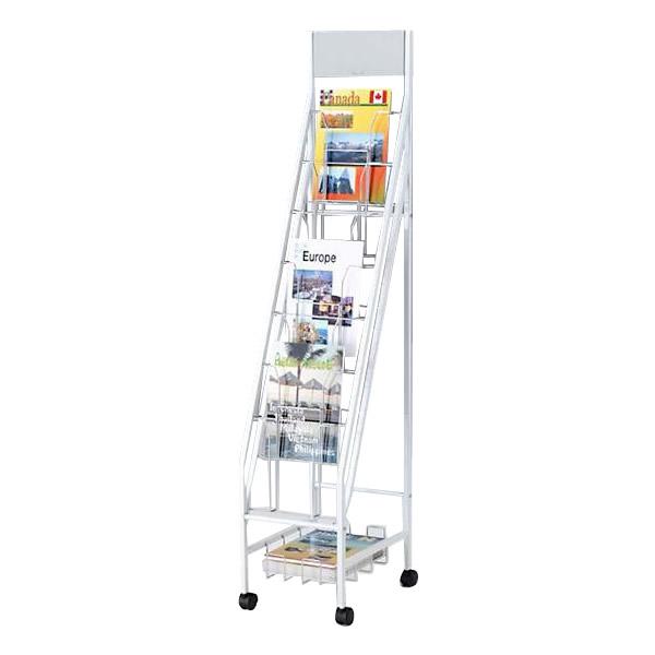 便利雑貨 オフィス収納 関連商品 7段1列型 ボリュームタイプ パンフレットスタンド A4サイズ対応 YS-42