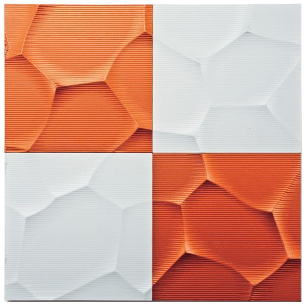 便利雑貨 プラデック ウォール アート クラック(ホワイト&メタルオレンジ) PL-20010