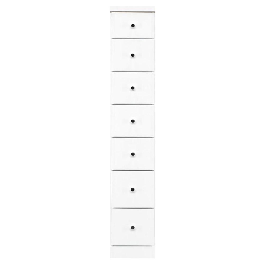 □生活関連グッズ □ソピア サイズが豊富なすきま収納チェスト ホワイト色 7段 幅25cm