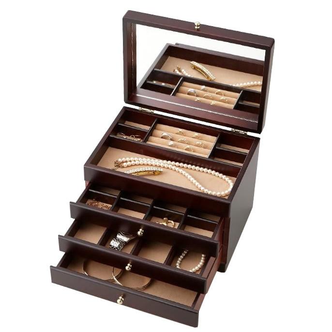 収納用品関連商品 茶谷産業 日本製 Wooden Case 木製ジュエルケース(アクセサリーケース) 3ツ引 017-806