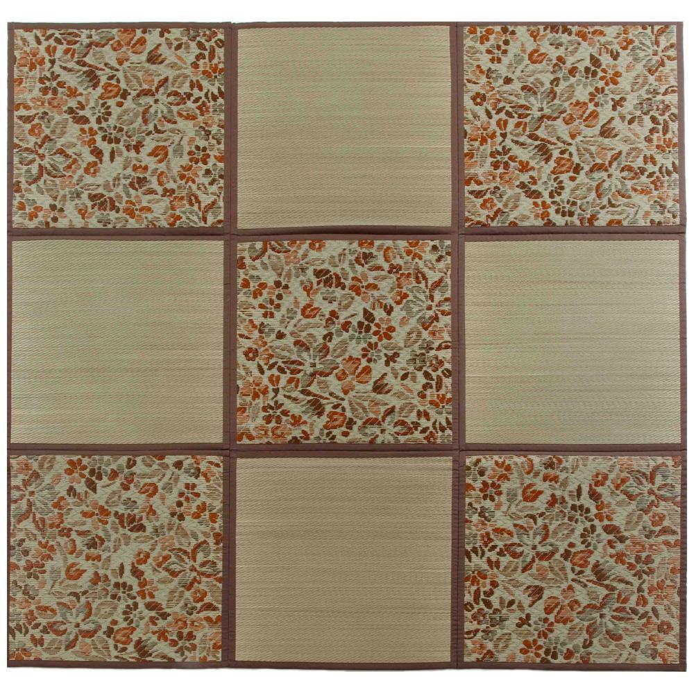 折りたたみ い草アクセントラグ 花園 ブラウン 約200×200cm HGW699134お得 な全国一律 送料無料 日用品 便利 ユニーク