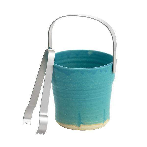 ワイン・バー・酒用品 アイスペール 関連 信楽焼 ターコイズブルー アイスペール トング付 TKB-001