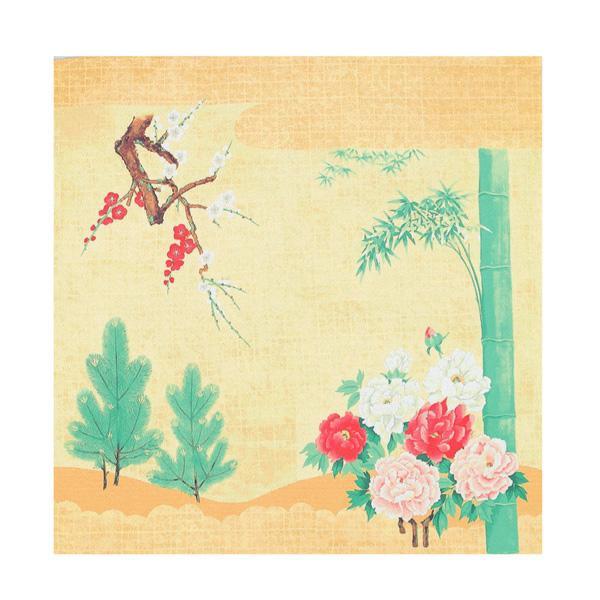 流行 生活 雑貨 ふろしき 絹90cm幅 松竹梅に牡丹図 11-0030-47