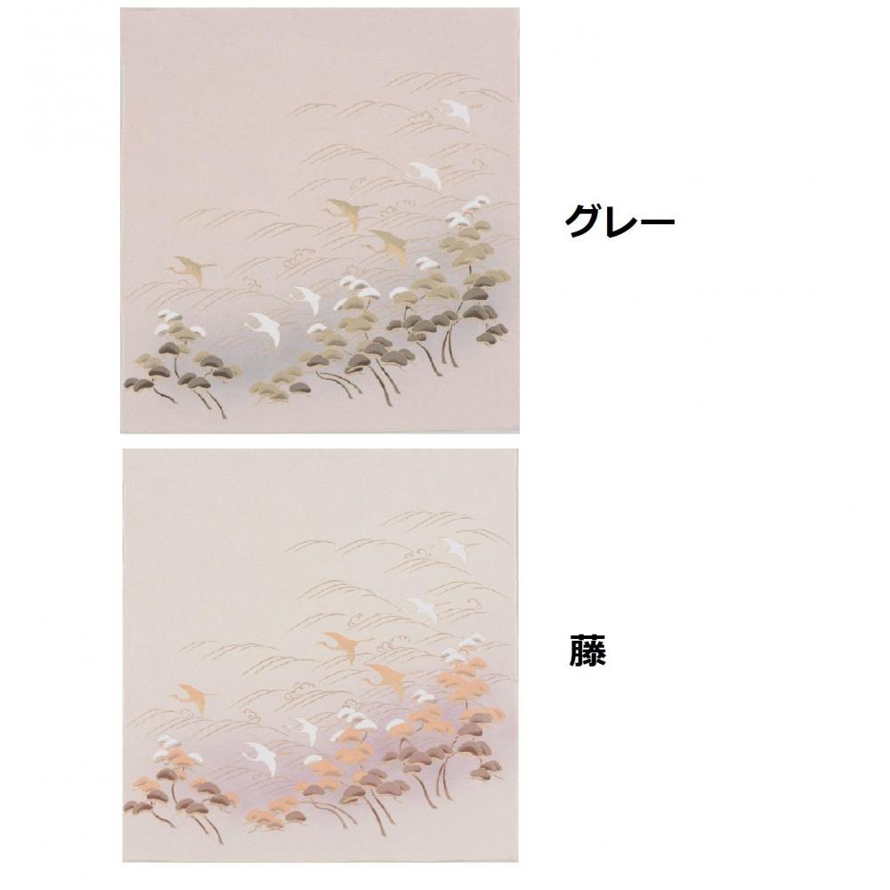 流行 生活 雑貨 ふろしき 絹75cm幅 鶴に松 グレー・11-5190-05