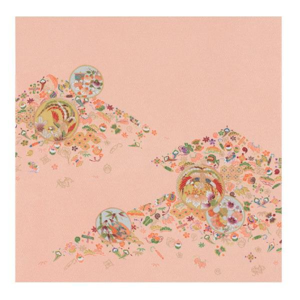 流行 生活 雑貨 ふろしき 絹75cm幅 鳳凰宝散し オレンジ 11-5436-42