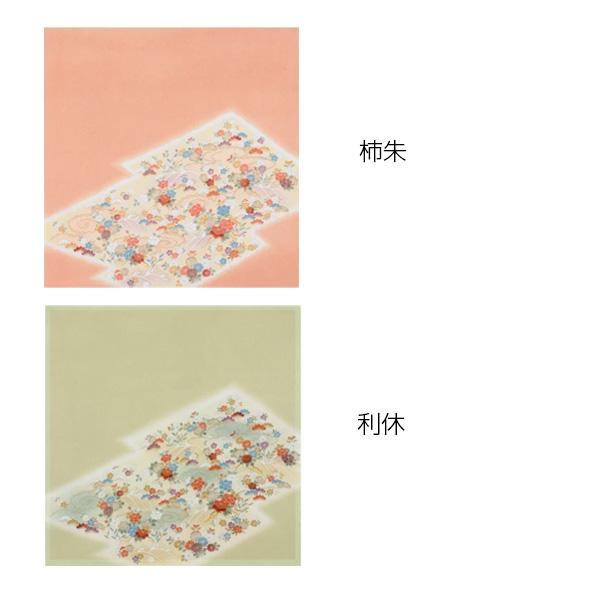 流行 生活 雑貨 ふろしき 絹75cm幅 流水草花 柿朱・11-5453-25