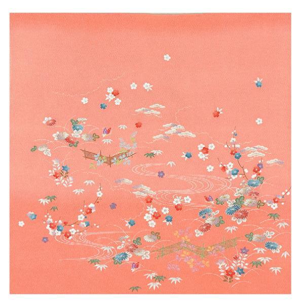 流行 生活 雑貨 ふろしき 絹75cm幅 蝶の庭 ピンク 11-5443-15