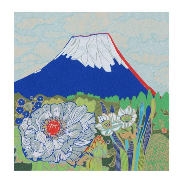 流行 生活 雑貨 ふろしき 名作ふろしき 絹45cm幅 片岡球子 牡丹に富士山 11-0429-82