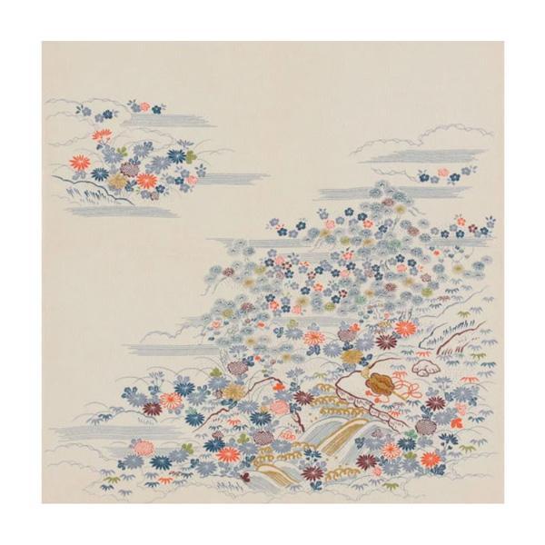 流行 生活 雑貨 ふろしき 徳川美術館コレクション 絹68cm幅 白縮緬地御所解文小袖