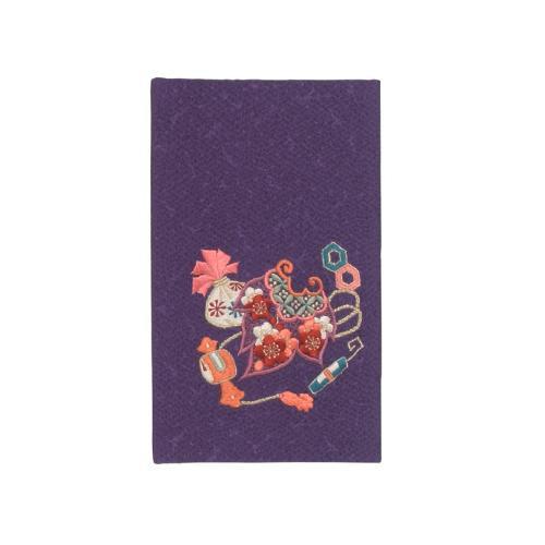 流行 生活 雑貨 縮緬刺繍金封入れ 宝尽くし 紫 絹12×20cm 桐箱入 14-0668-95