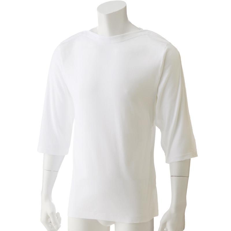 流行 生活 雑貨 男女兼用片側脇開き7分袖シャツ ホワイト LL 38150-03