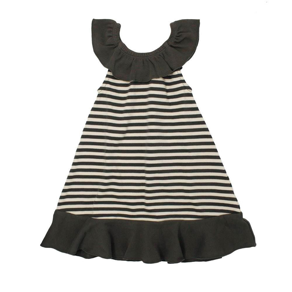 流行 生活 雑貨 ストライプ ラッフル ドレス sap-416 グレー/ベージュ・3歳