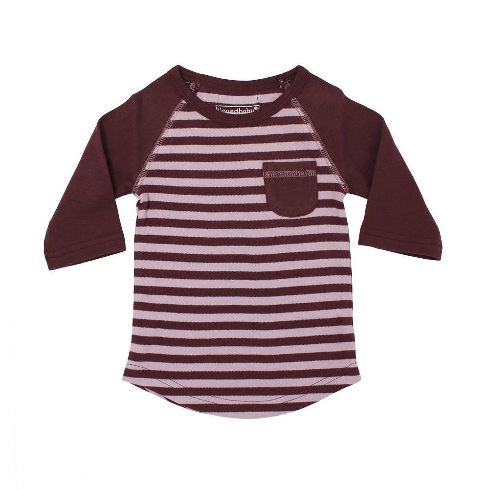 流行 生活 雑貨 キッズ ストライプ ラグラン Tシャツ sap-k302 ラベンダー/エッグプラント・4歳