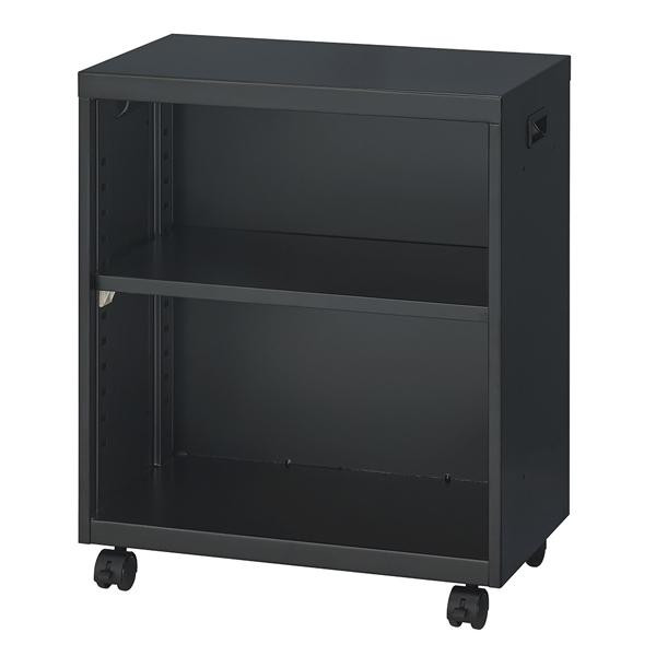 オフィス収納 ナカバヤシ キャスター付キャビネット デスクターナ H600 ブラック ND-722-BK/デスク下に収まるコンパクトサイズ