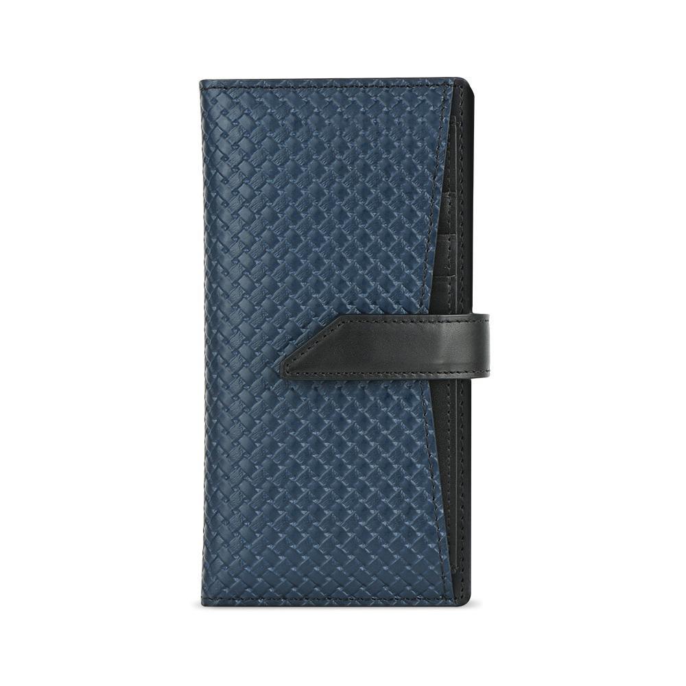 生活 雑貨 通販 Design Skin(デザインスキン) iPhone 11 スライド式手帳型ケース WEAVING LEATHER CASE ネイビー DSK18303i61R