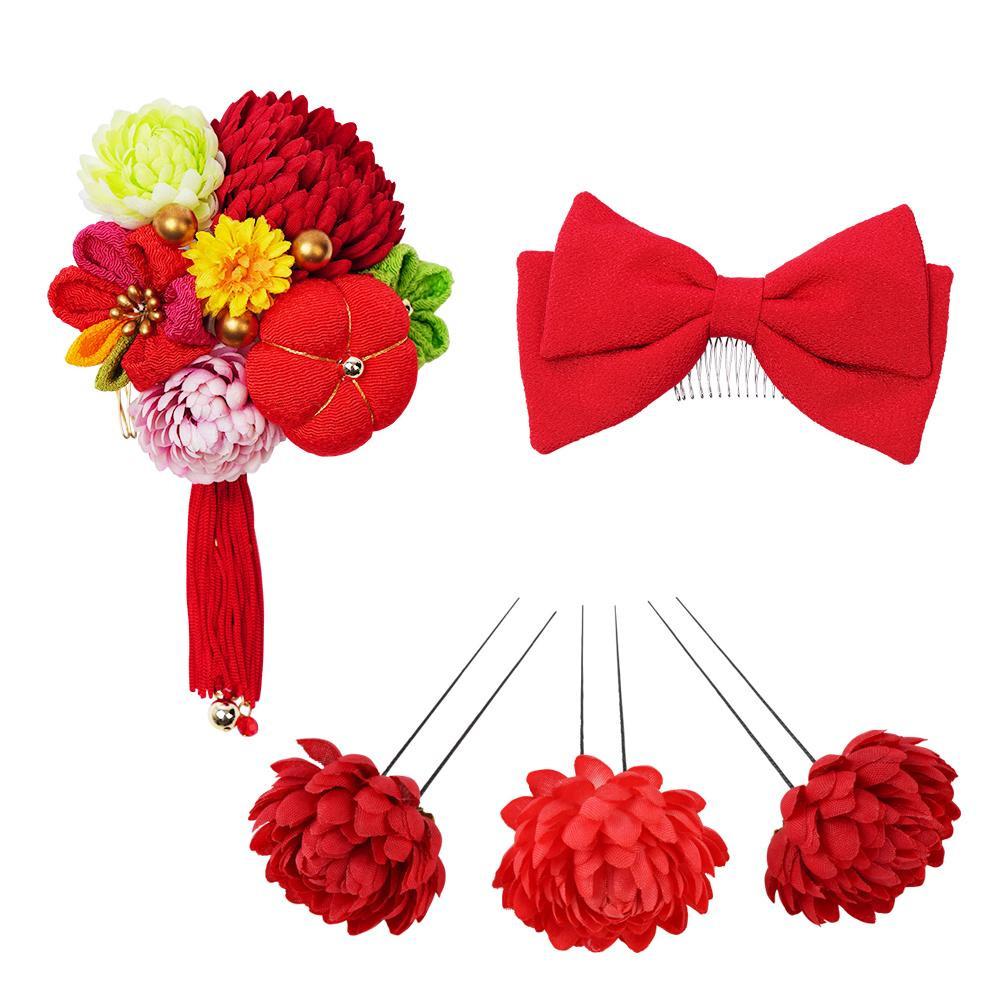 生活 雑貨 通販 菊とリボンの和風髪飾りセット (コーム2点・Uピン3本) 224-041 アカ