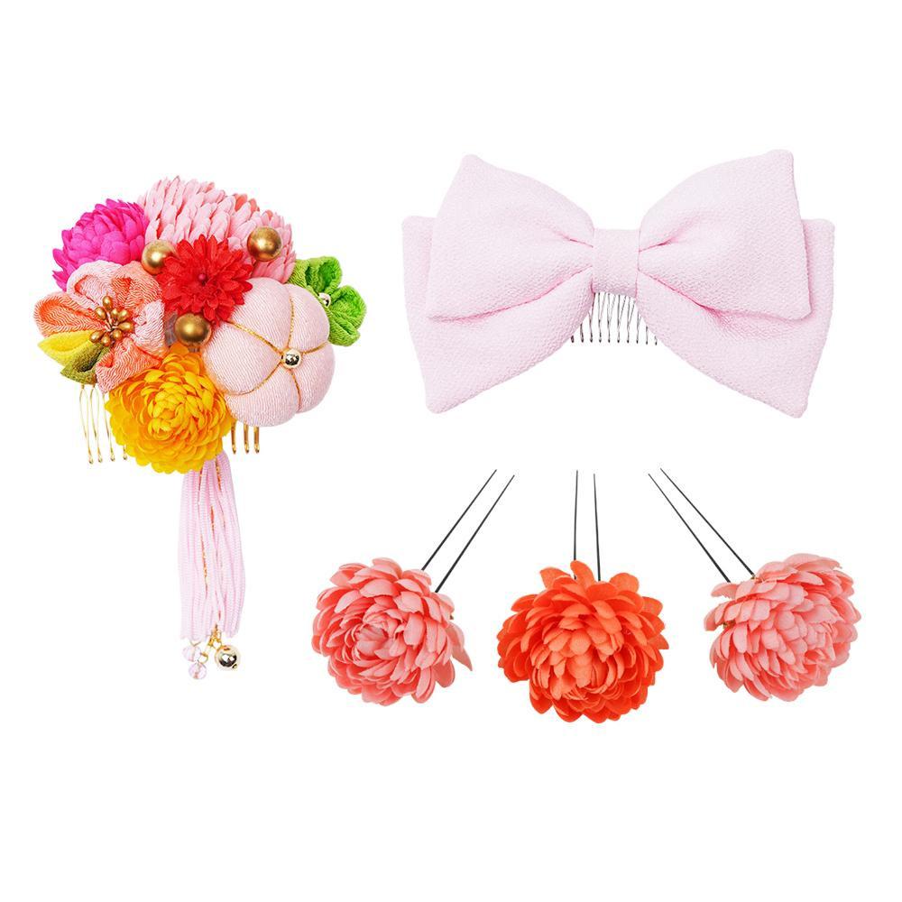 生活 雑貨 通販 菊とリボンの和風髪飾りセット (コーム2点・Uピン3本) 224-041 サーモン