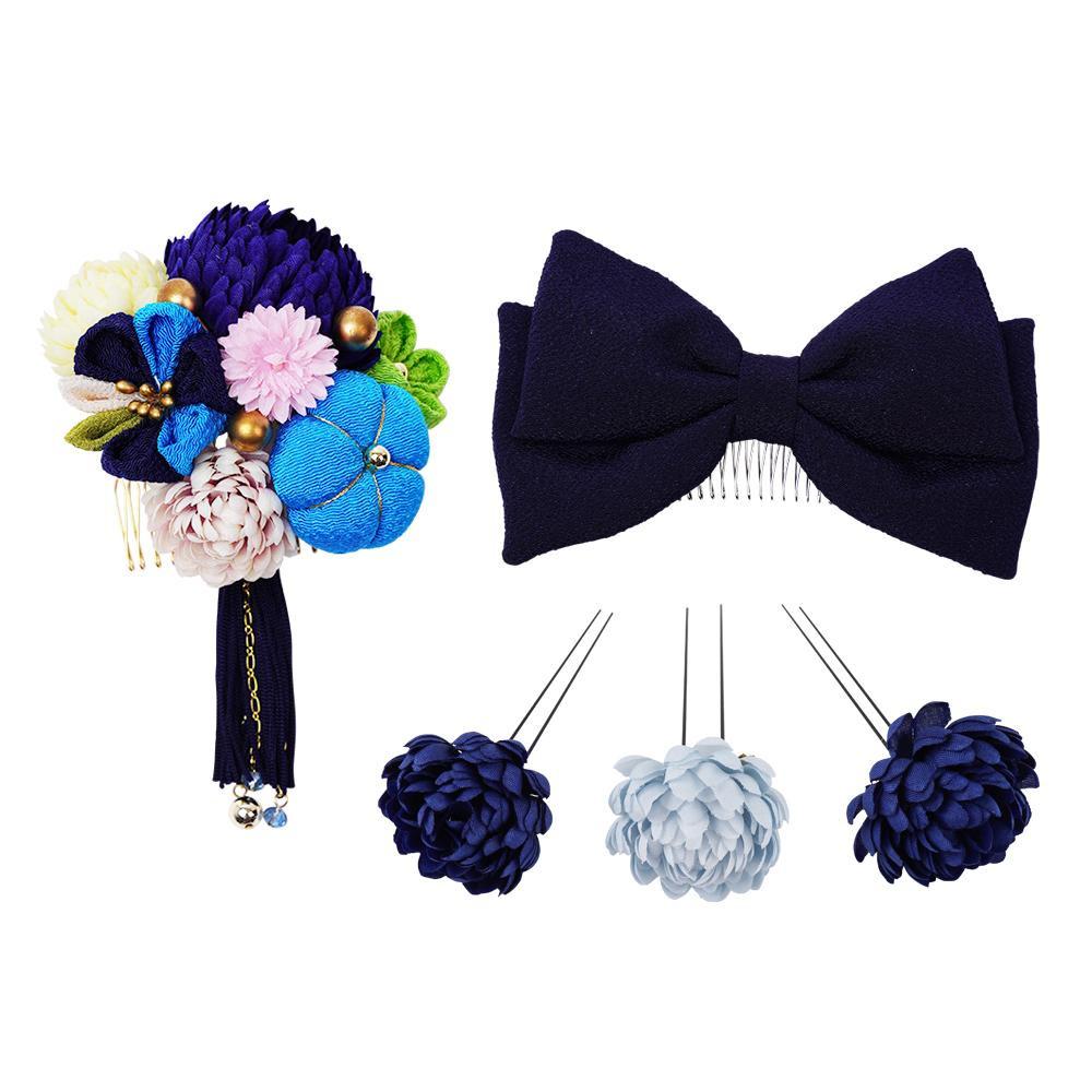 生活 雑貨 通販 菊とリボンの和風髪飾りセット (コーム2点・Uピン3本) 224-041 コン