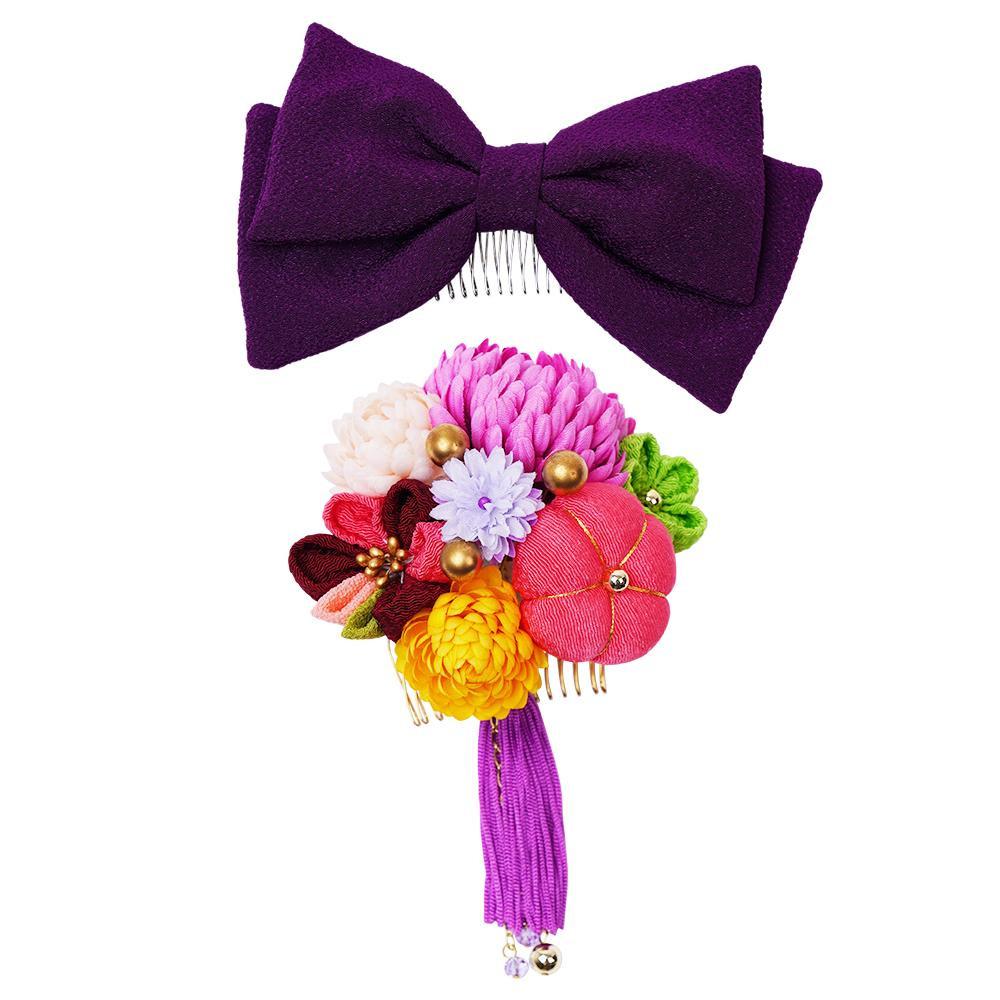 トレンド 雑貨 おしゃれ 菊とリボンの和風髪飾りセット (コーム2点) 224-042 ワイン