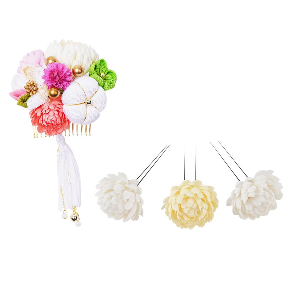 生活 雑貨 通販 菊の和風髪飾りセット (コーム・Uピン3本) 224-043 シロ
