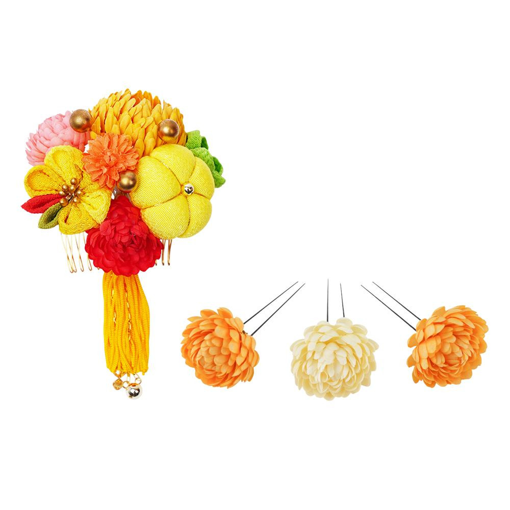 生活 雑貨 通販 菊の和風髪飾りセット (コーム・Uピン3本) 224-043 イエロー
