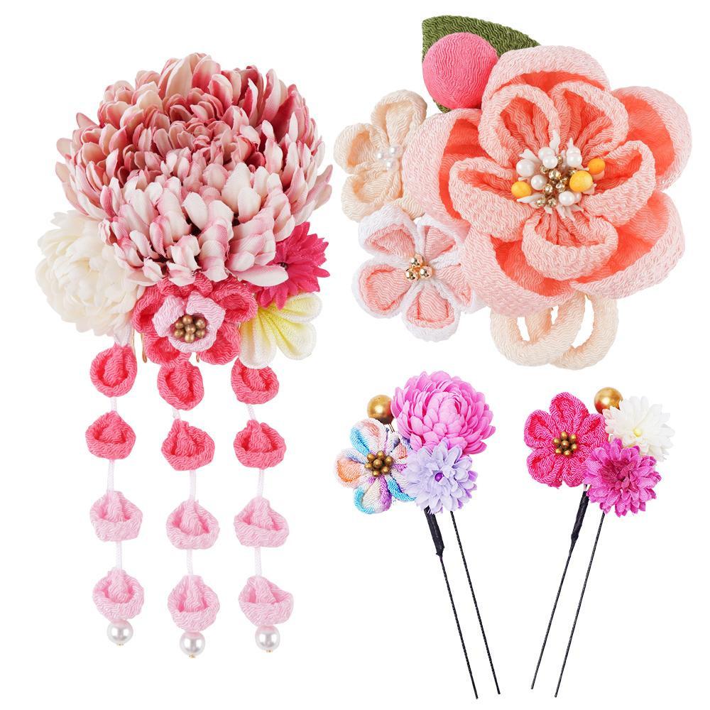 生活 雑貨 通販 和風髪飾りセット (コーム2点・Uピン2本) 224-046 ピンク