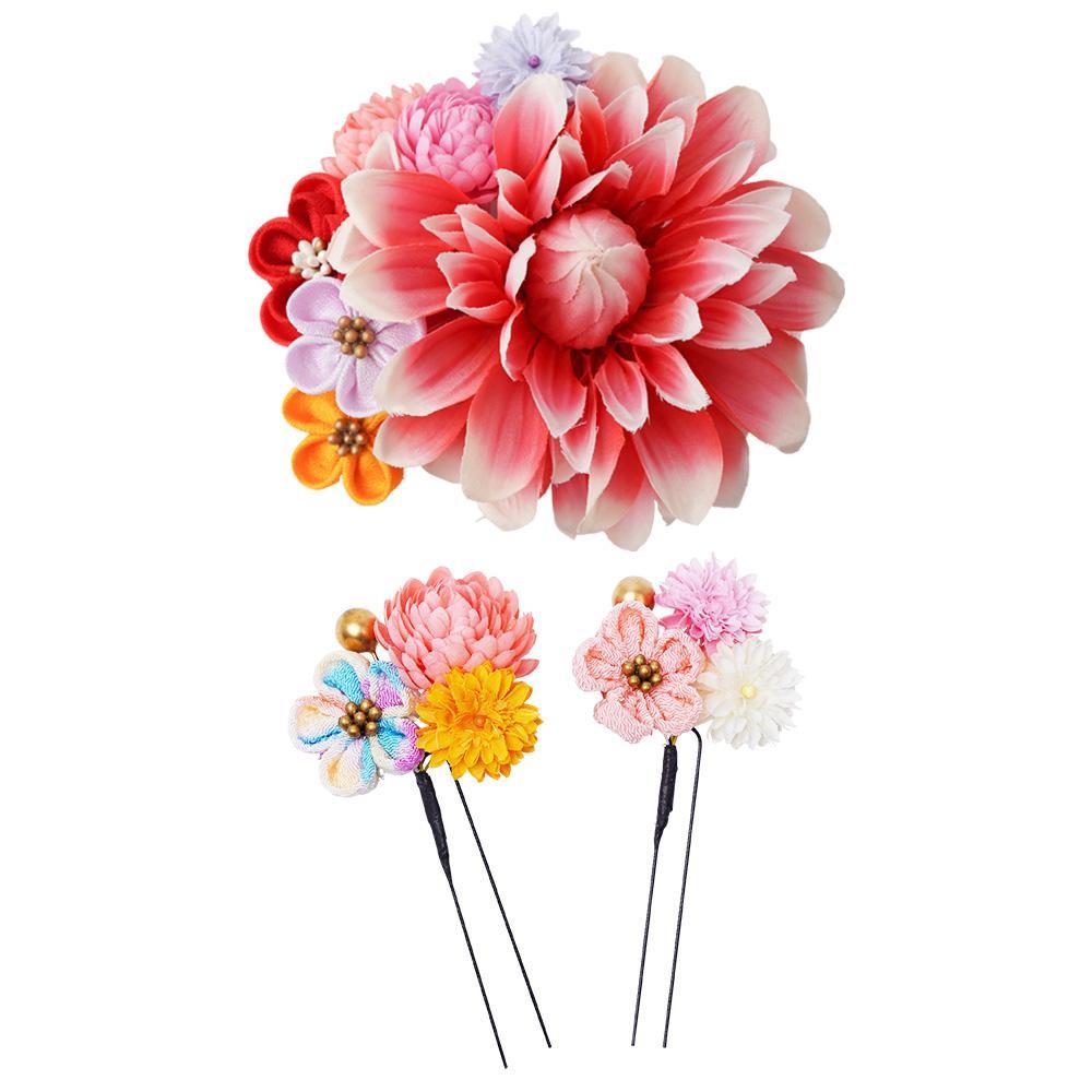 生活 雑貨 通販 和風髪飾りセット (コーム・Uピン2本) 224-048 サーモン
