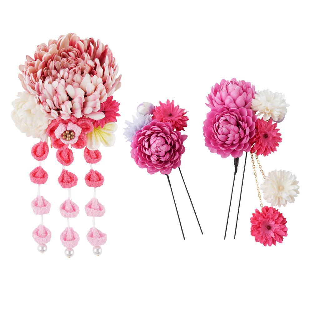 生活 雑貨 通販 和風髪飾りセット (コーム・Uピン2本) 124-043 ピンク