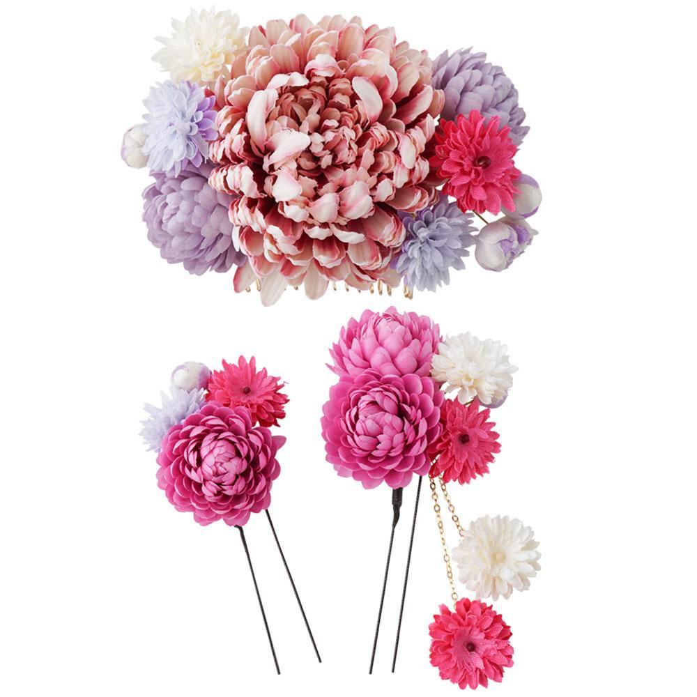 生活 雑貨 通販 和風髪飾りセット (コーム・Uピン2本) 124-943 ピンク