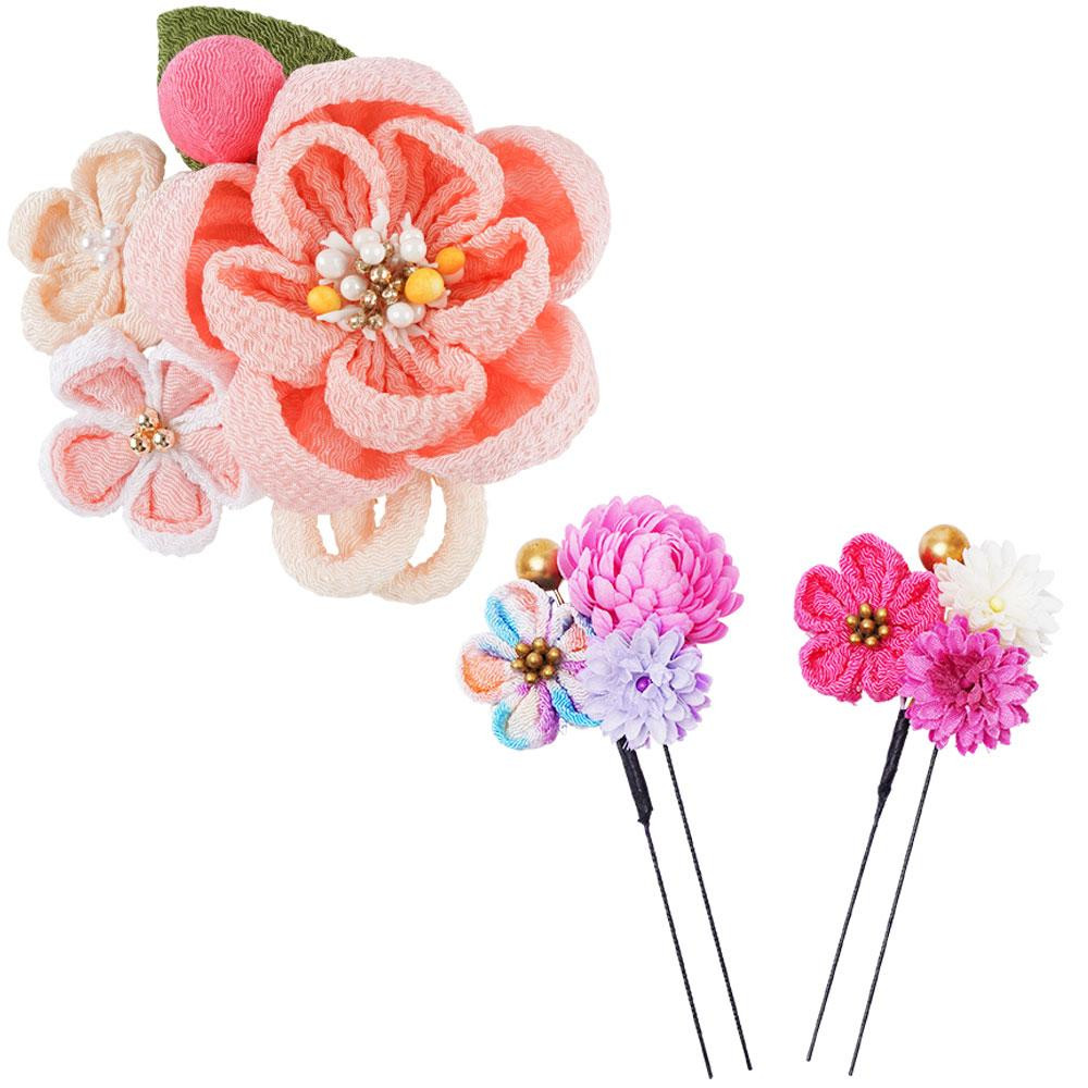 生活 雑貨 通販 和風髪飾りセット (コーム・Uピン2本) 224-049 ピンク
