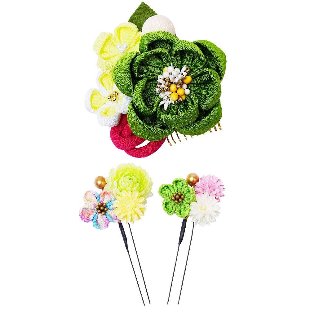生活 雑貨 通販 和風髪飾りセット (コーム・Uピン2本) 224-049 グリーン