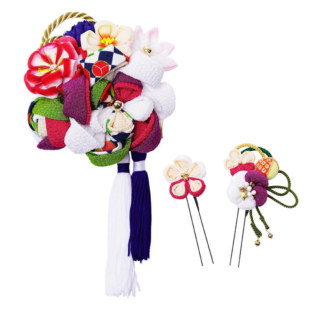 生活 雑貨 通販 レトロポップな和風髪飾りセット (コーム・Uピン2本) 224-057 シロ
