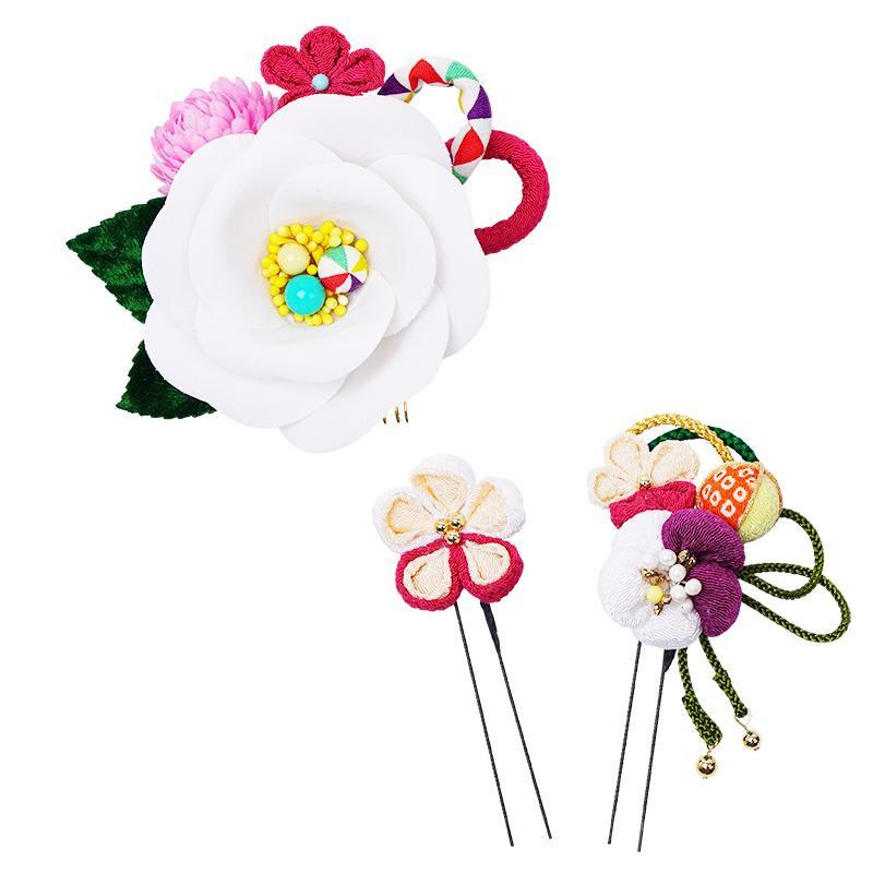 あると便利 日用品 レトロポップな和風髪飾りセット (コーム・Uピン2本) 224-058 シロ
