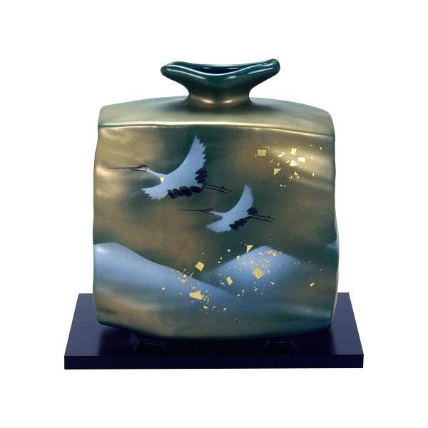 <title>美しい九谷焼の花生け 6号花瓶 金箔鶴連山 新登場 N166-07</title>