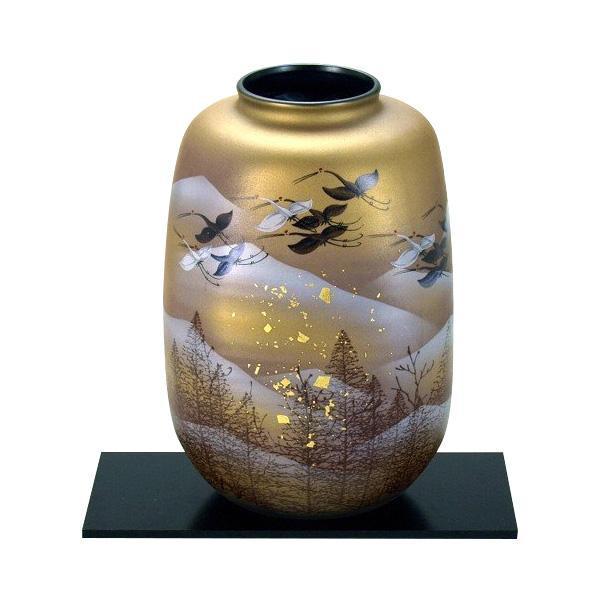 8号花瓶 金箔鶴木立連山 N169-05人気 お得な送料無料 おすすめ 流行 生活 雑貨
