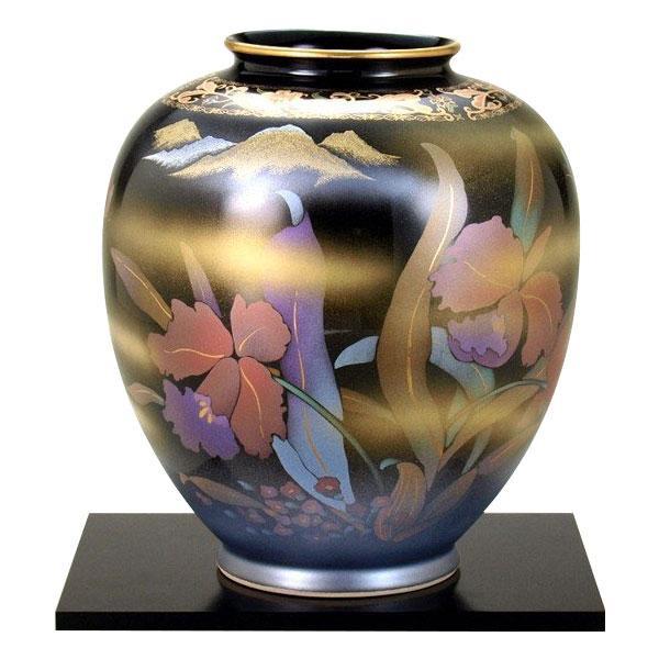 <title>美しい九谷焼の花生け 8号花瓶 天目カトレア お気に入 N173-07</title>