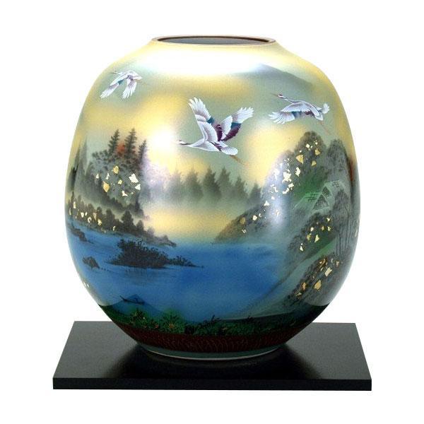 8号花瓶 金箔鶴山水 N175-02