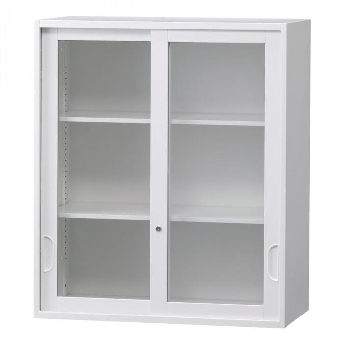 流行 生活 雑貨 壁面収納庫深型引違いガラス扉 ホワイト HOS-HKGN BN-90色(ホワイト)