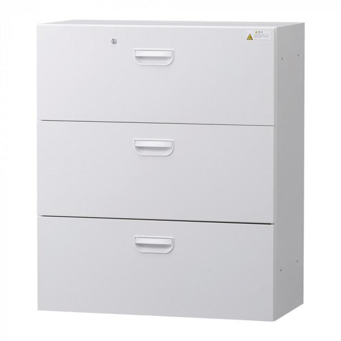 流行 生活 雑貨 壁面収納庫深型ラテラル3段 ホワイト HOS-L3NN BN-90色(ホワイト)